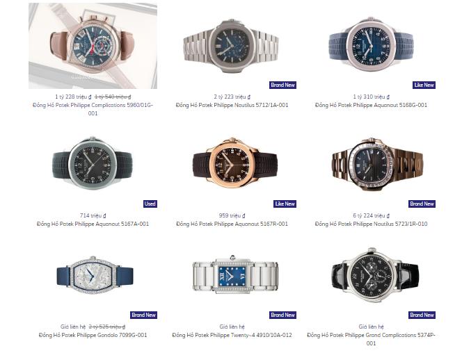 Bảng giá một số mẫu đồng hồ Patek Philippe tại Gia Bảo Luxury
