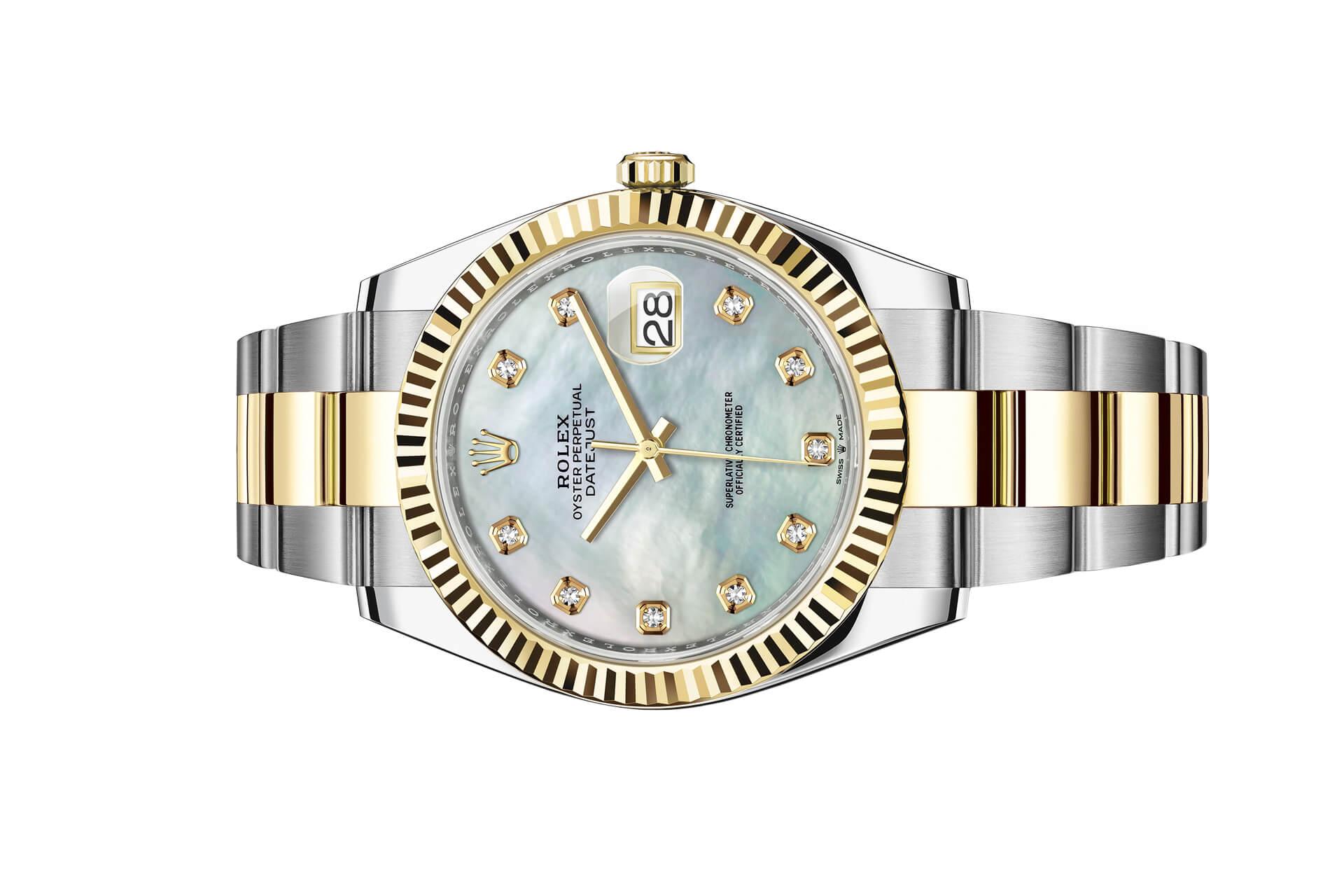 Đồng hồ Rolex Datejust 41 Mặt Số Vỏ Trai Trắng