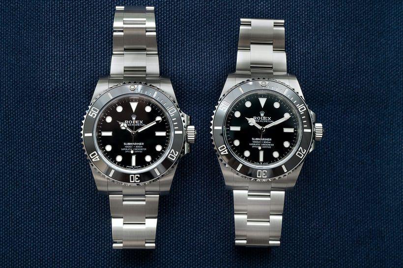 Mẫu đồng hồ Submariner 114060 cũ ở bên trái, còn mẫu Submariner 126060 mới ở bên phải