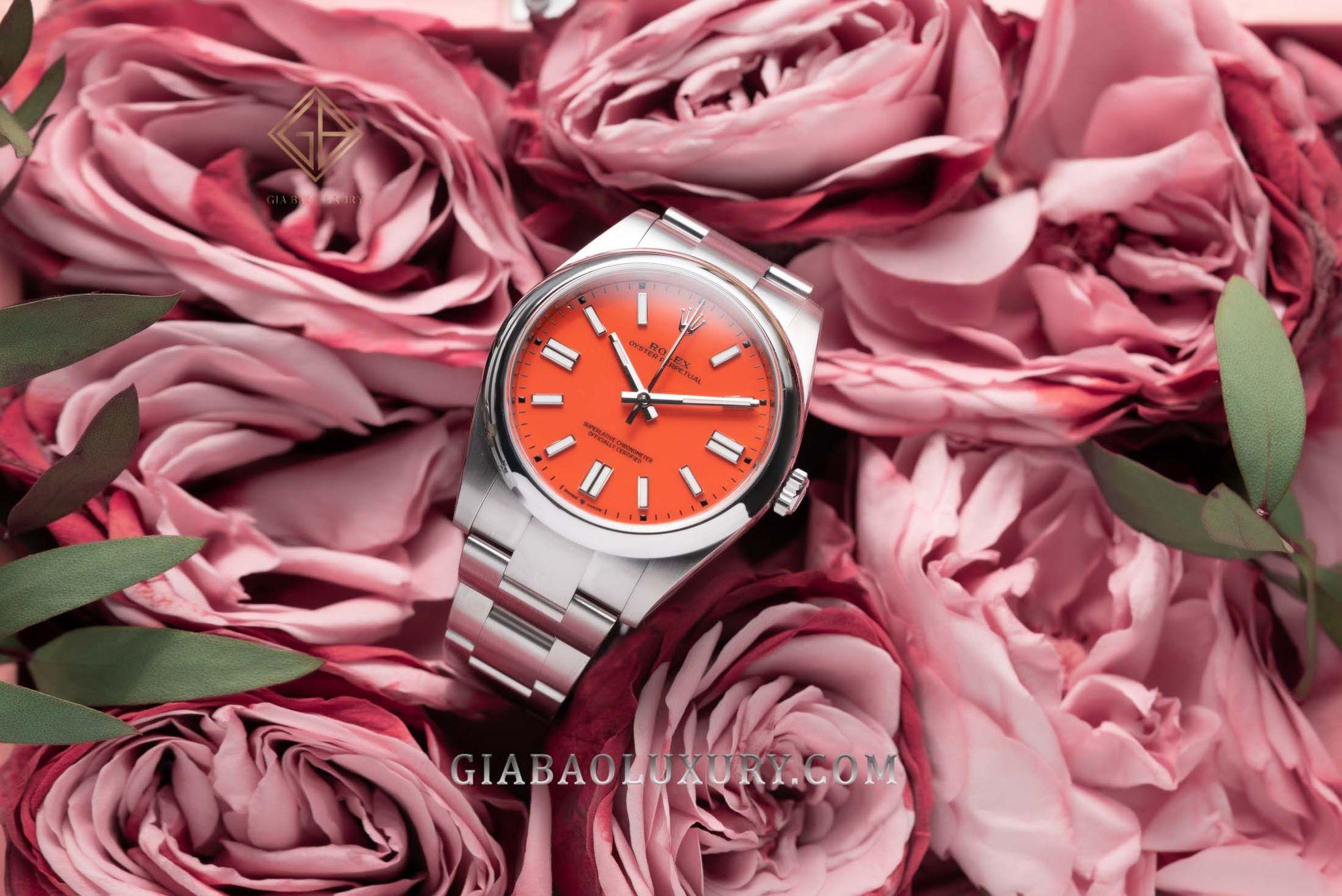 Đồng Hồ Rolex Oyster Perpetual 41 124300 Mặt Số Đỏ